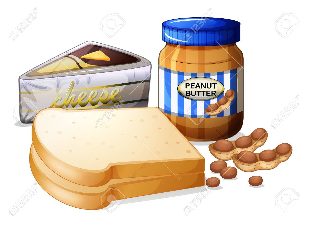 Illustration of the sliced bread with cheese and butter on a...
