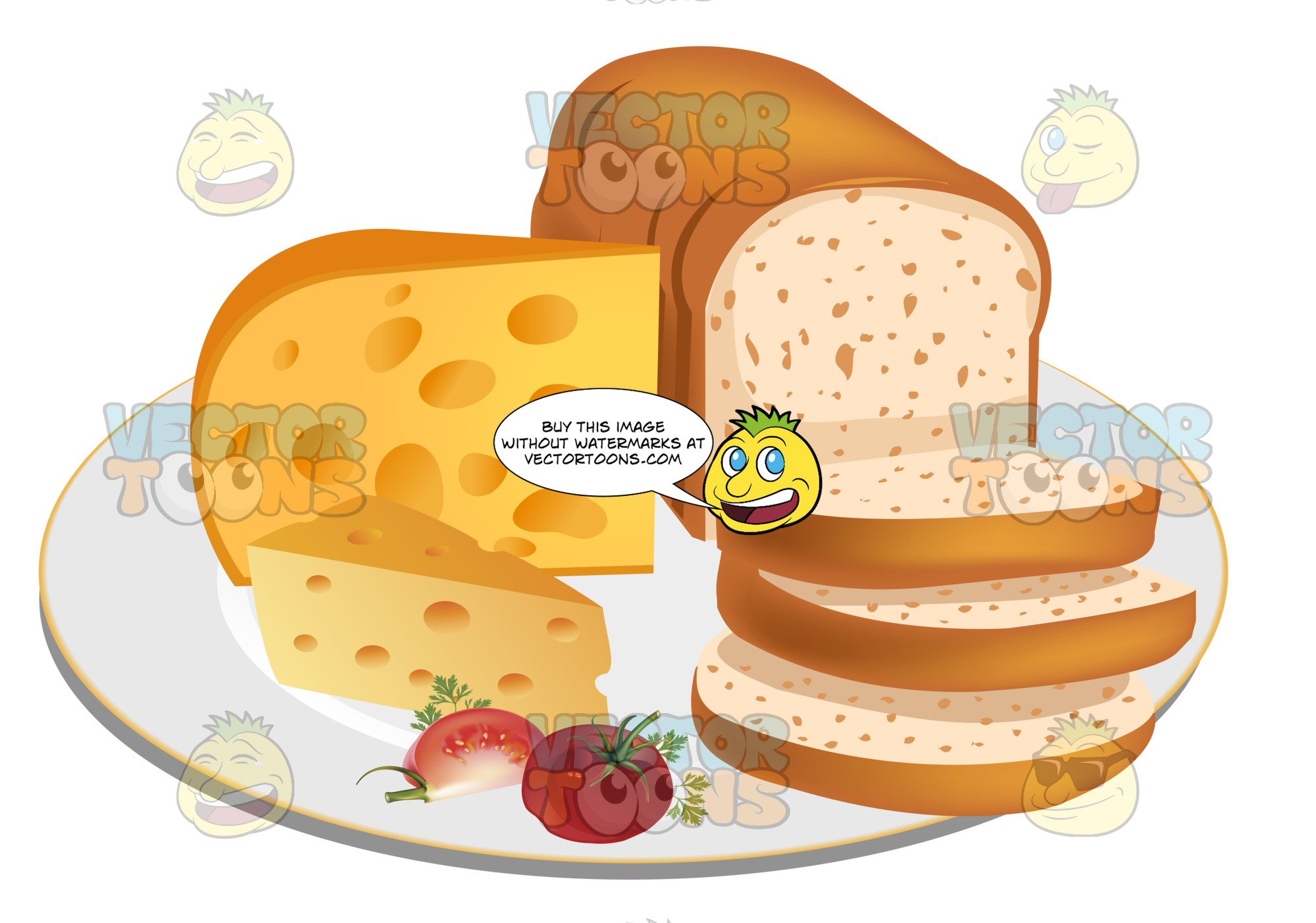 Sliced Loaf Of Bread With Cheese On A Plate.