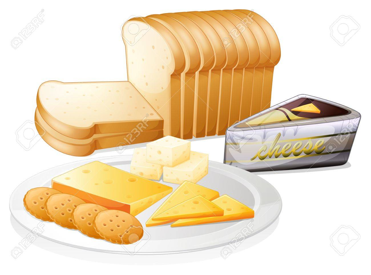 Illustration of the sliced bread with cheese and biscuits on...