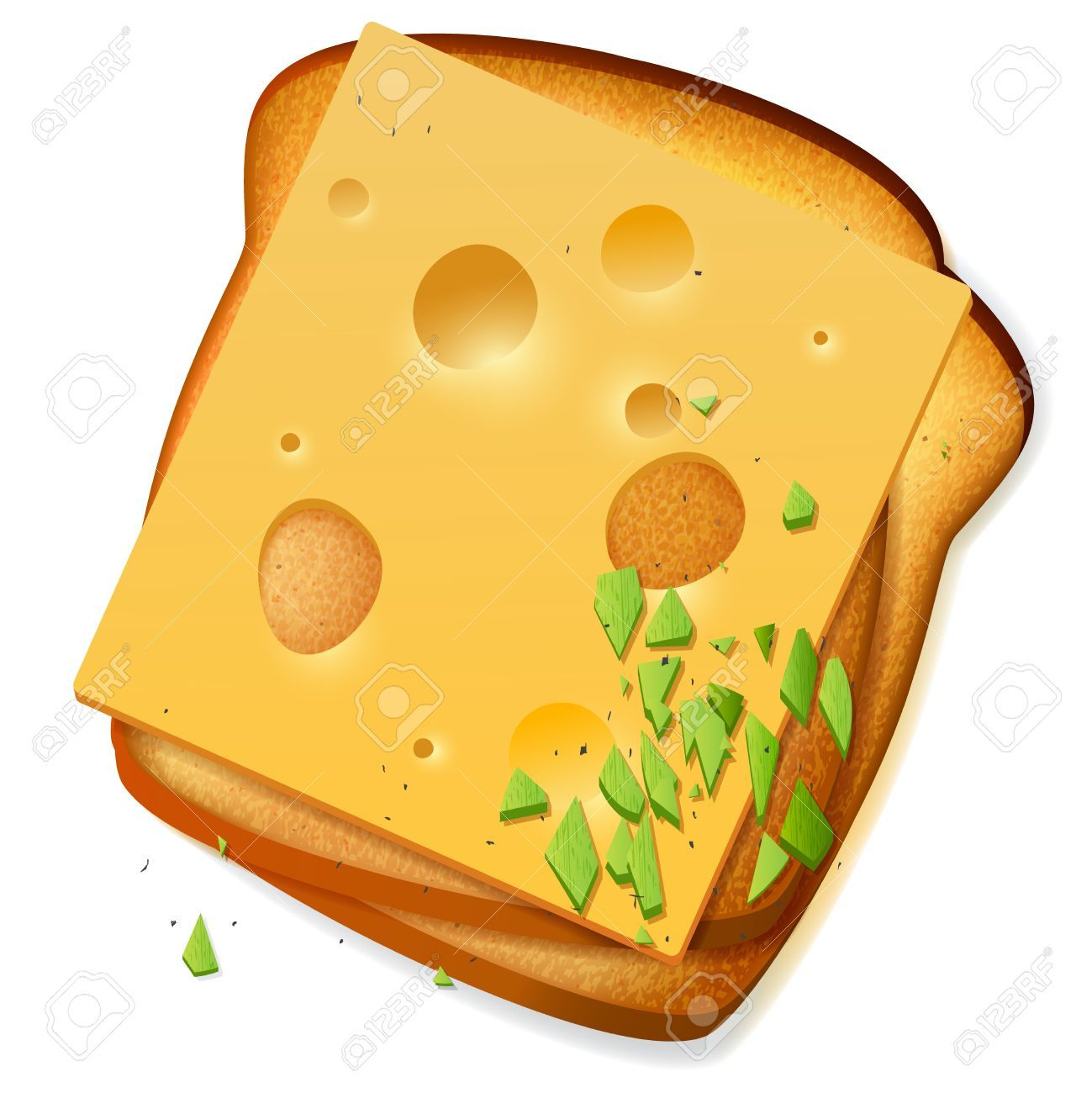 Toasted bread slices with cheddar cheese » Clipart Portal.