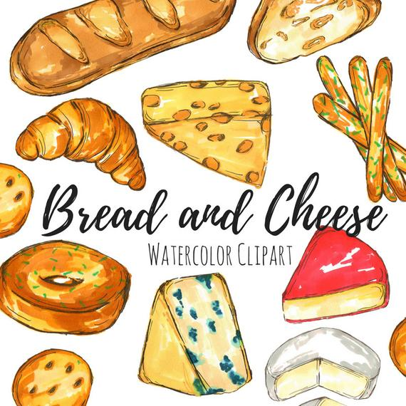 Bread and Cheese Clip Art Set.