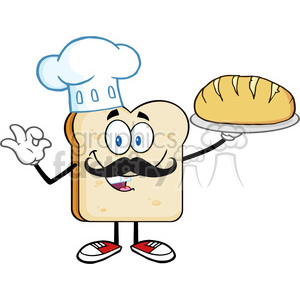 royalty free rf clipart illustration baker bread slice cartoon mascot  character with chef hat and mustache holding a bread vector illustration.