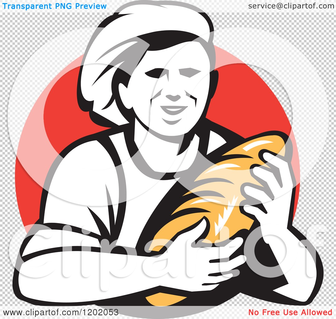 Clipart of a Retro Female Baker Holding a Bread Loaf over a Red.