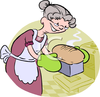 Woman Baking Bread Clipart.