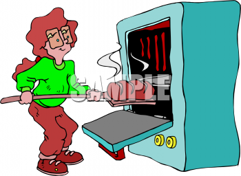 Clip Art Picture Of A Woman Taking A Loaf Of Bread Out Of An Oven.