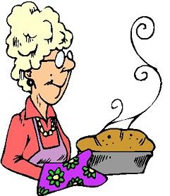 Woman baking bread clipart.