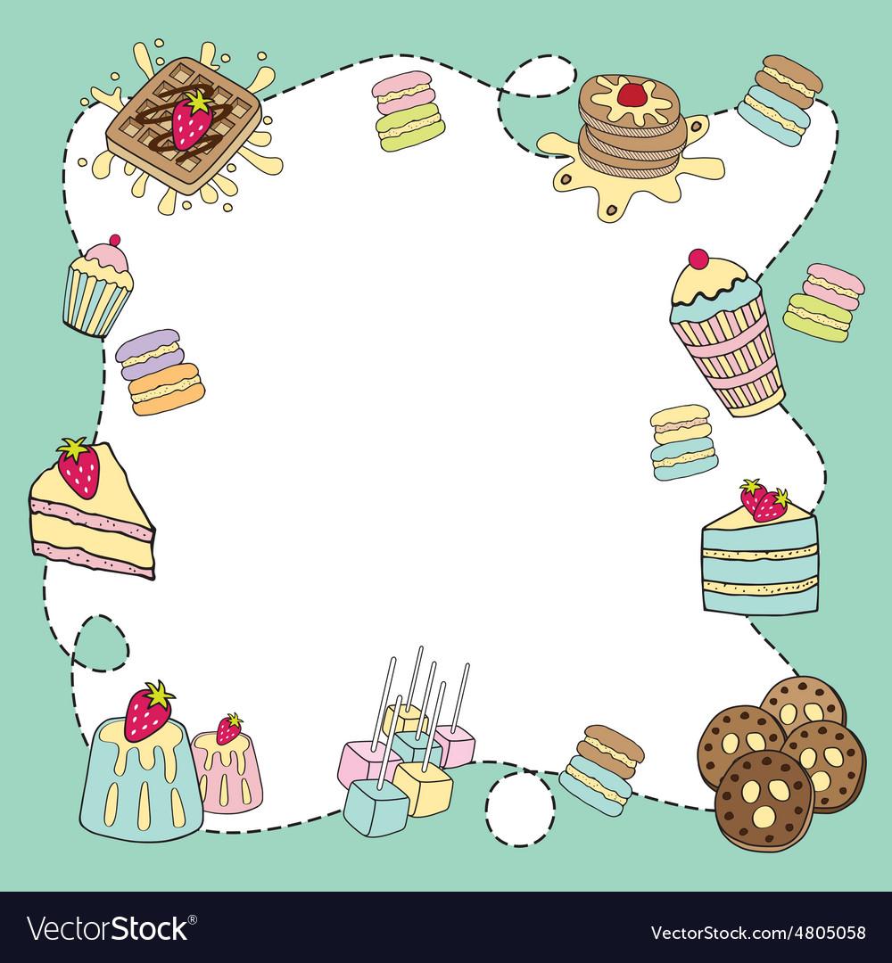Bakery doodle border blank.