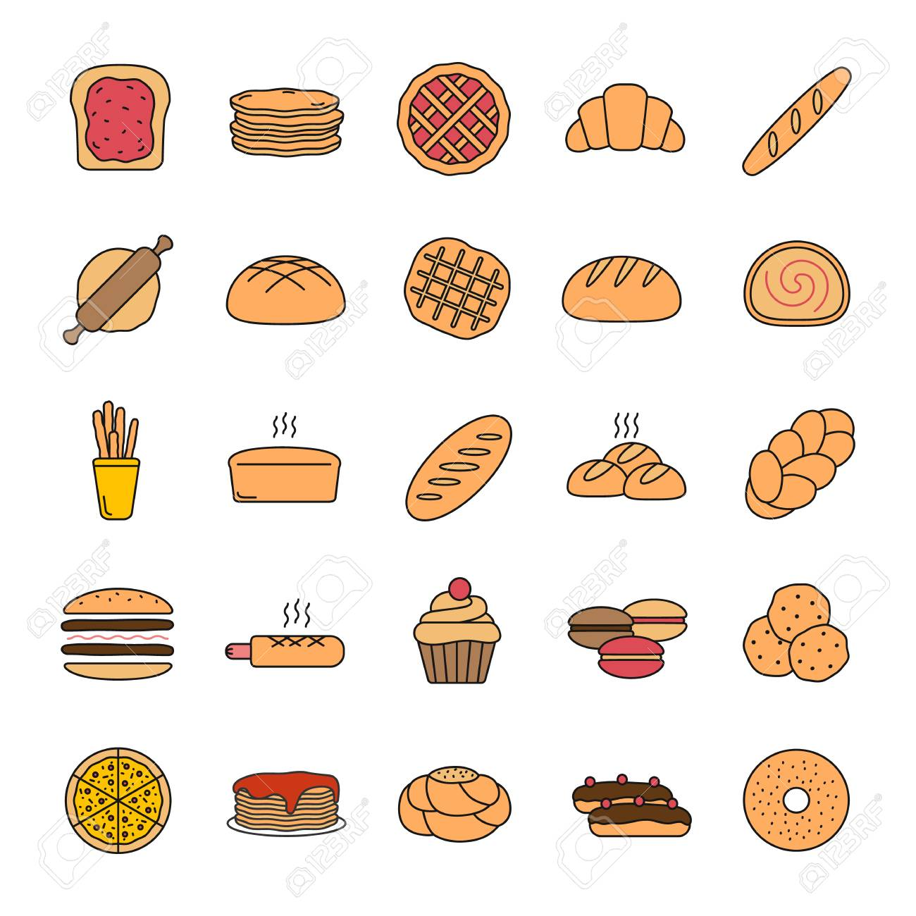 Bakery color icon. Pastry. Confectionery. Bread, buns, cookies,...