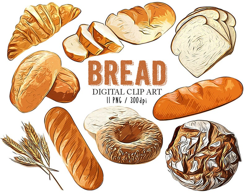 Bread Clipart Food Printables Bread Clip Art Breakfast Bakery Realistic  Bread for Scrapbooking Card Making Cupcake Toppers Paper Craft.