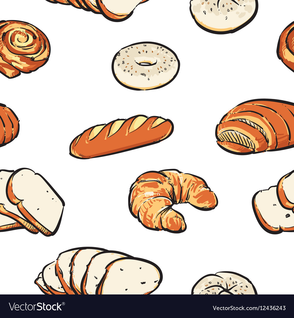 Bread pattern including seamless clipart.