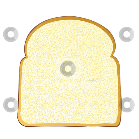 Slice of white bread stock vector.