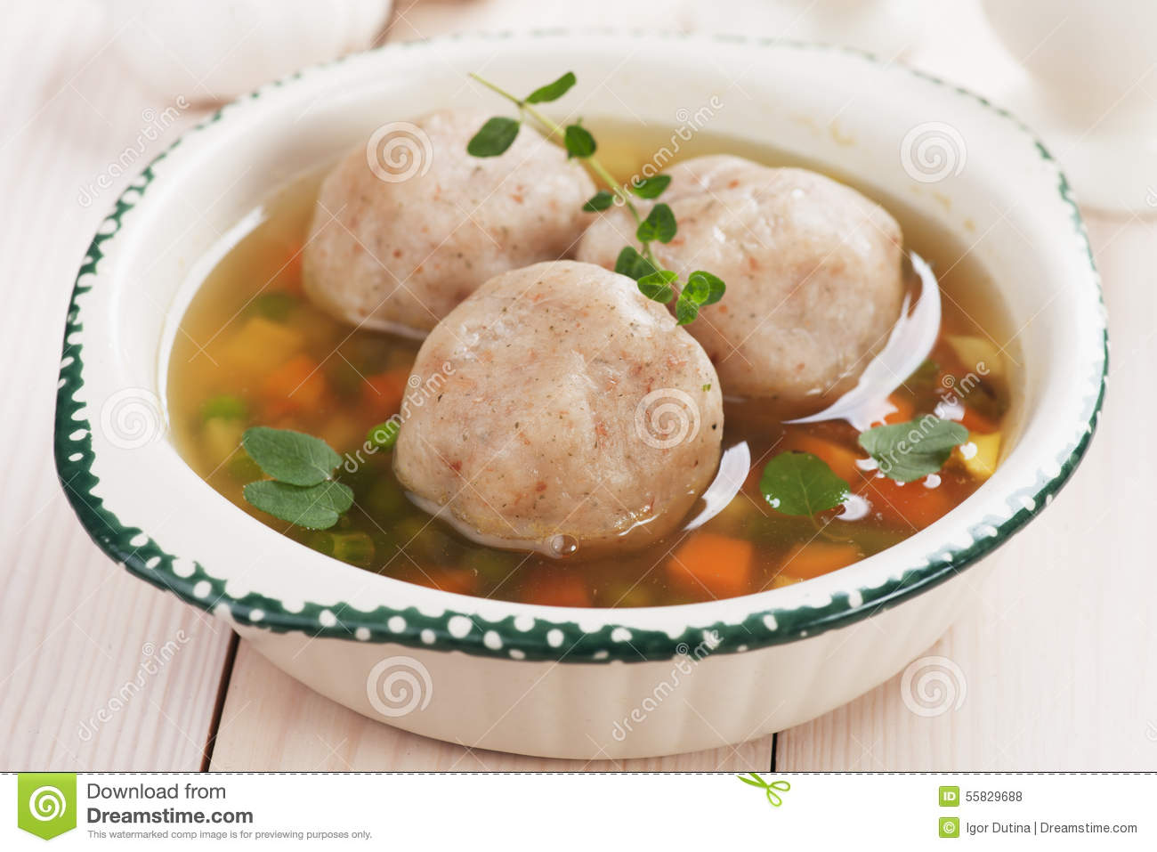 Vegetable Soup With Bread Dumplings Stock Photo.