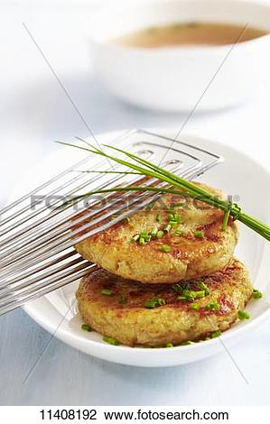 Stock Photo of Kapressknödel (cheesy bread dumplings with herbs.