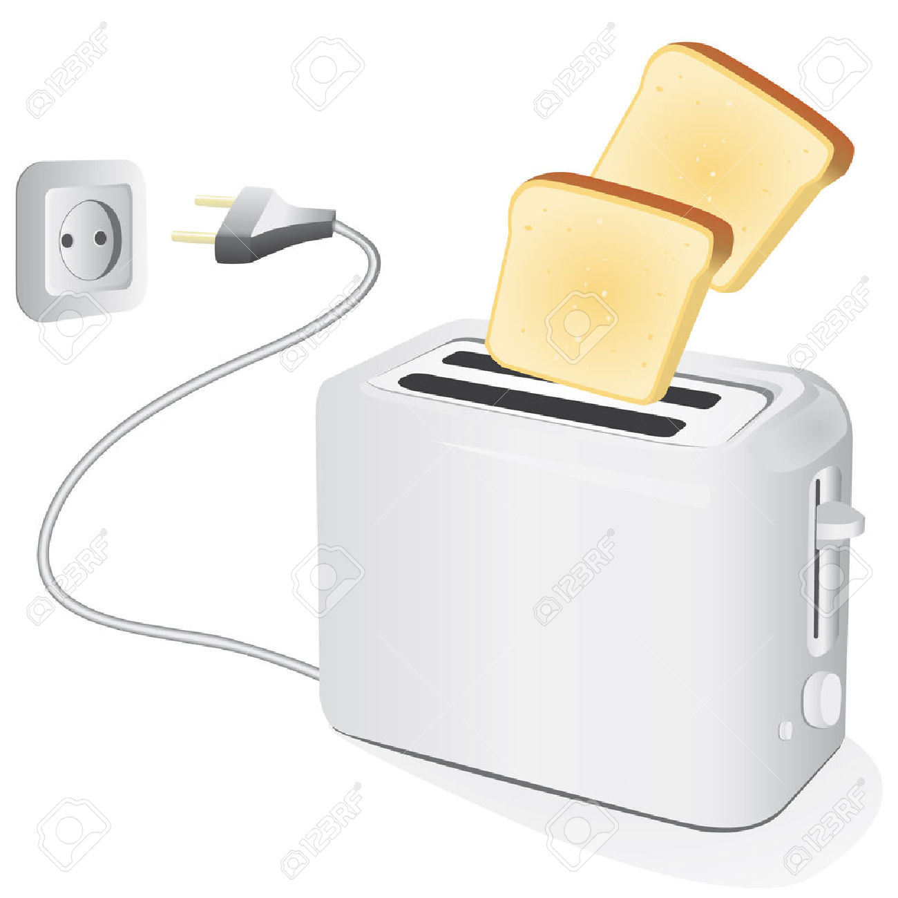 Plastic Electric Toaster With Toast. Illustration Royalty Free.