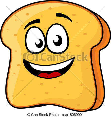 Vector Clipart of Slice of bread or toast with a beaming smile.