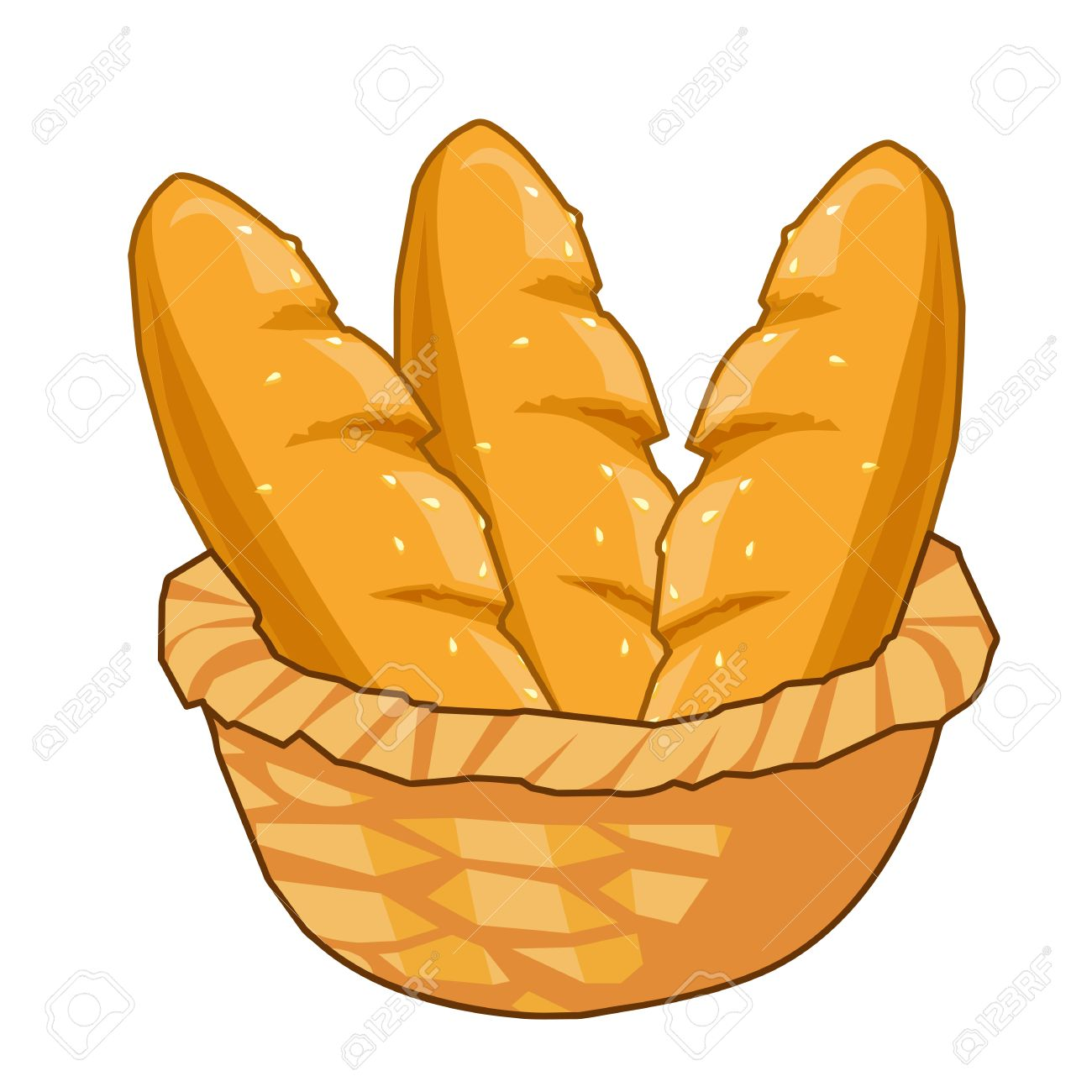 Bread in Basket isolated illustration on white background.