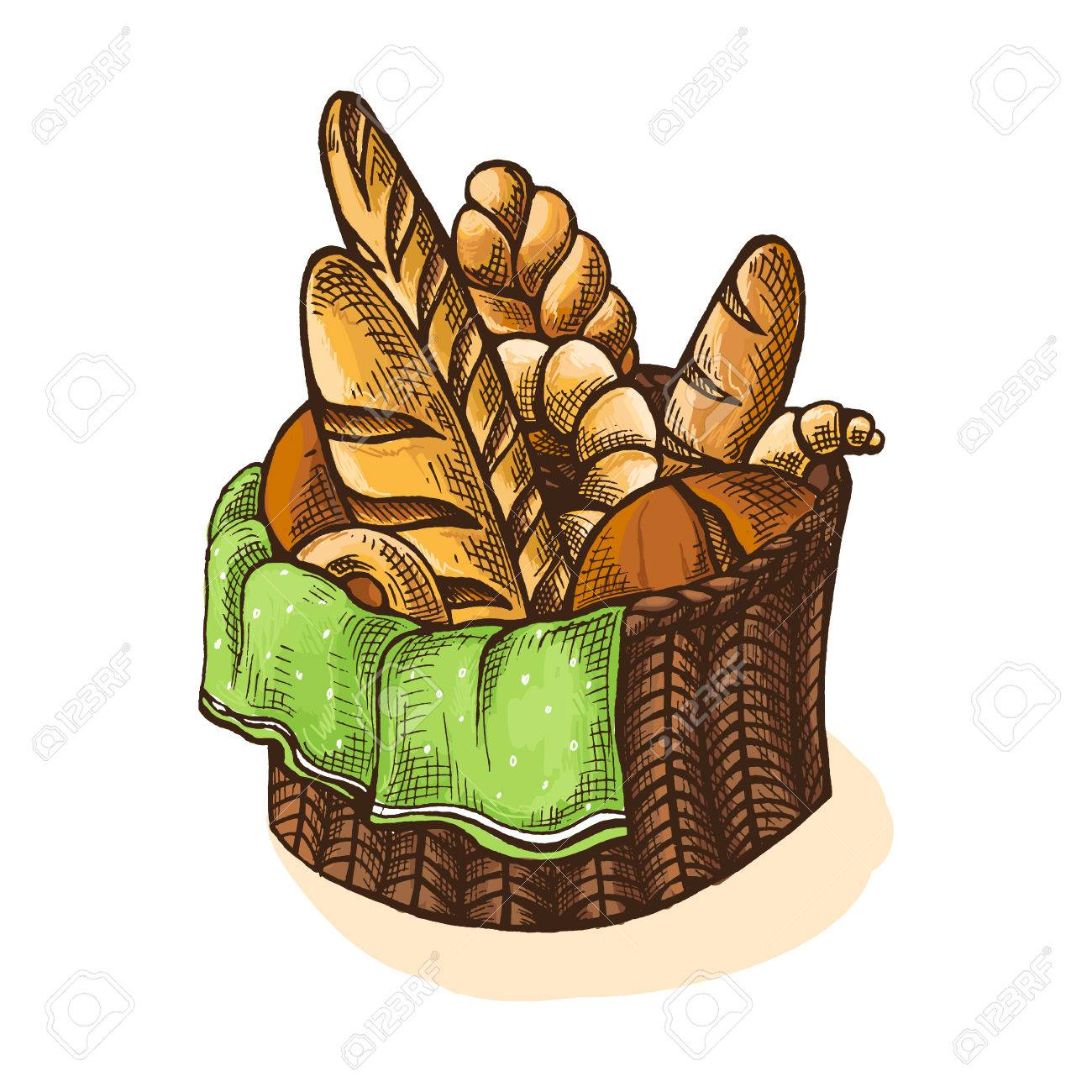 Watercolor Fresh Bread Basket in graphic style.