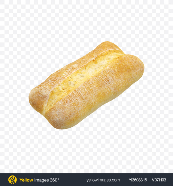 Download Ciabatta Bread Loaf Transparent PNG on Yellow Images 360°.