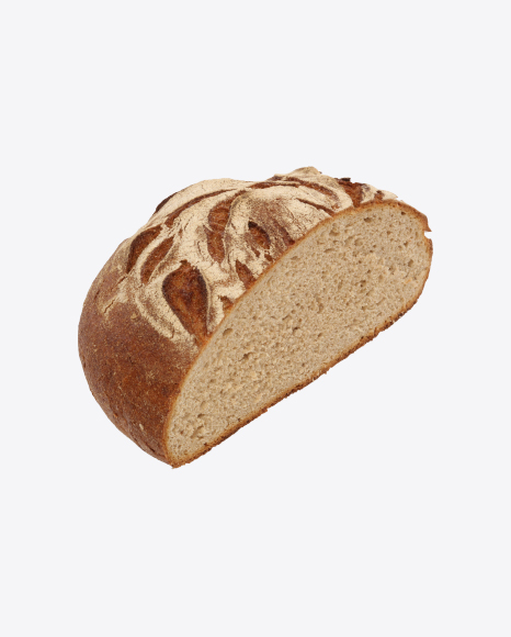 Download Round Loaf of Bread Transparent PNG on Yellow Images 360°.