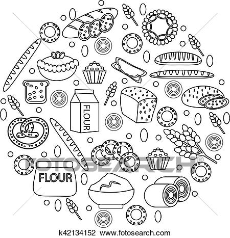 Bakery products icon set in a round shape, line, outline, doodle style. of  different bread and pastry isolated on white background. Flour. Vector.