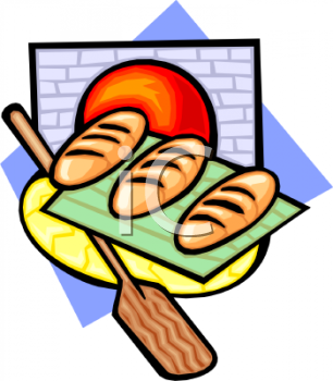Royalty Free Clip Art Image: Bread Baked in a Brick Oven.