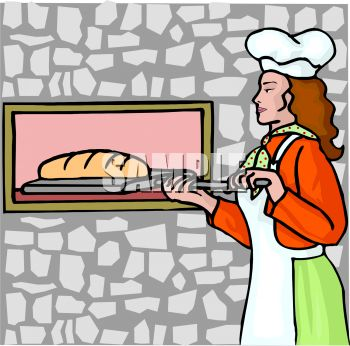 Lady Putting Bread in a Brick Oven.