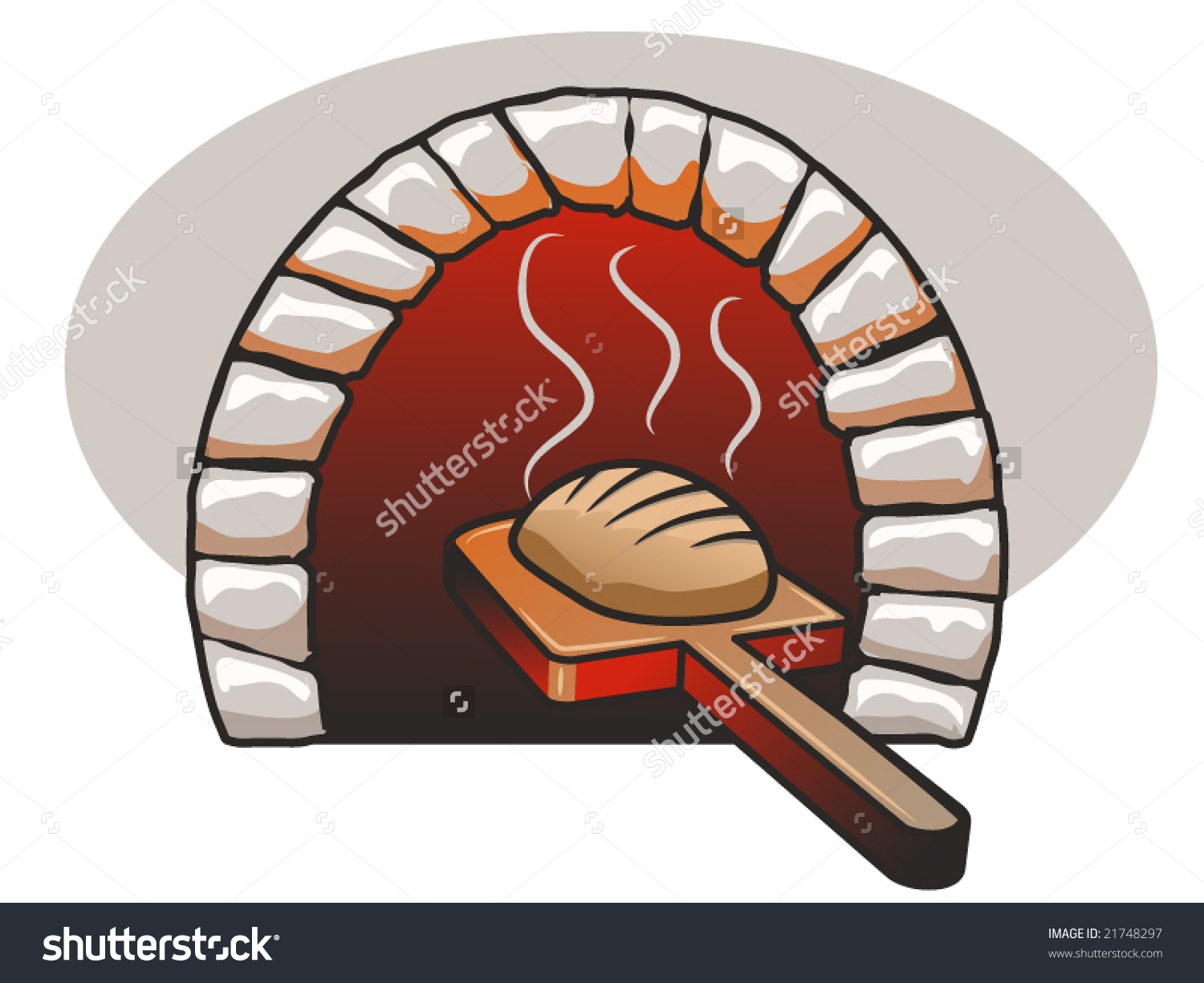 Stone Bread Baking in Oven Clip Art.