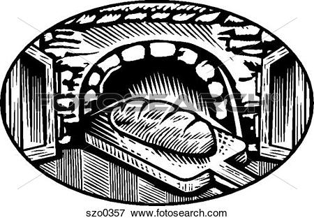 Stock Illustration of oven baked bread b/w szo0357.