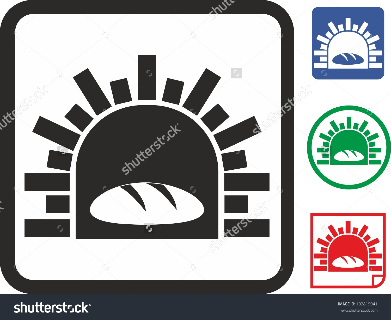 Oven Bread Vector Icon Stock Vector 102819941.