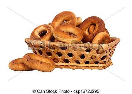 Stock Photographs of basket with dry bread.