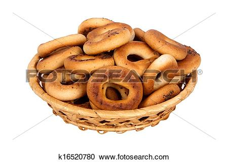 Stock Photography of basket with dry bread.