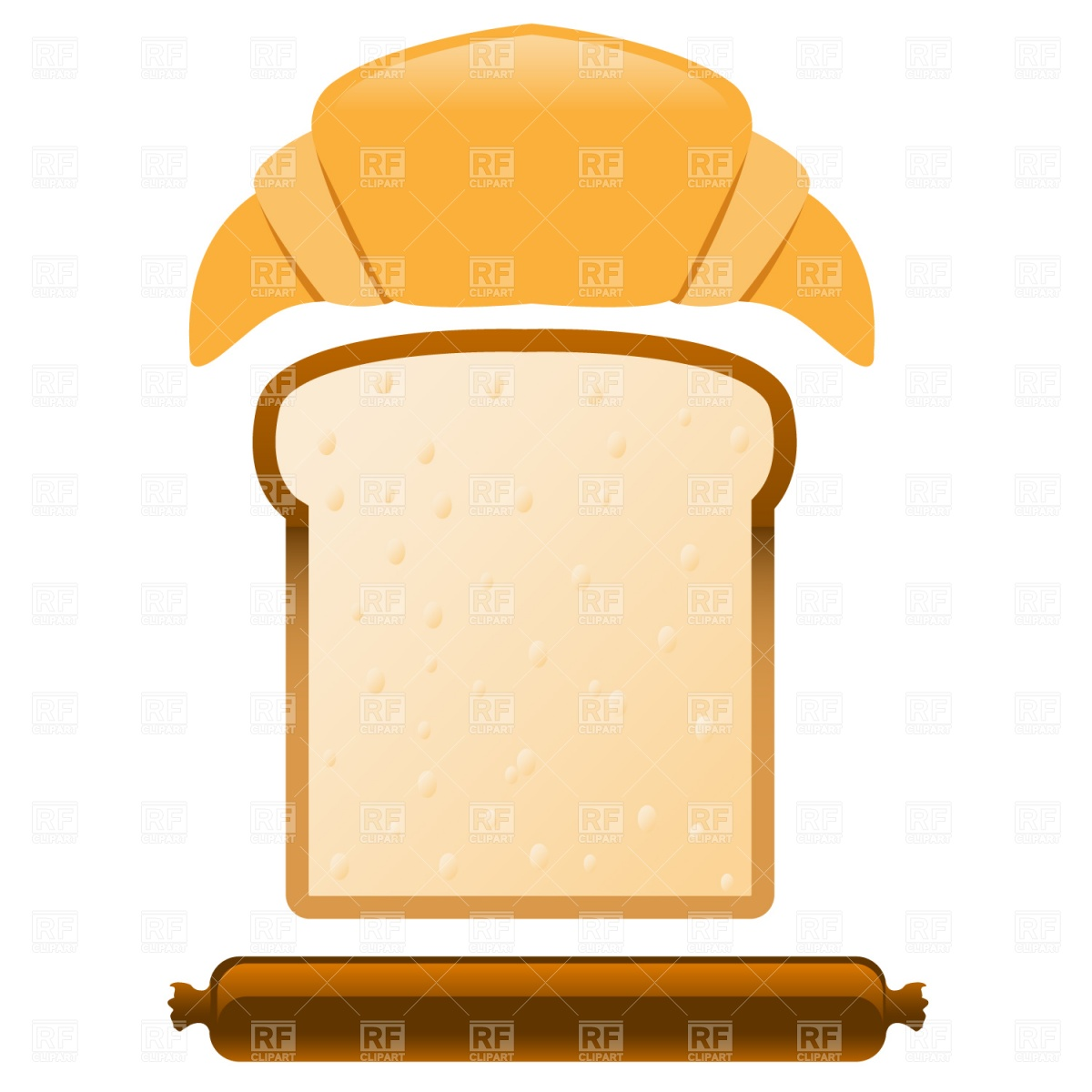 Croissant, slice of bread and sausage Stock Vector Image.