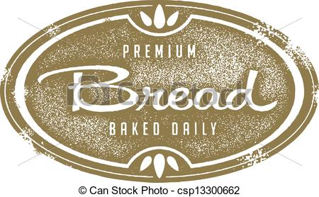Clip Art Vector of Vintage Fresh Bread Bakery Stamp.