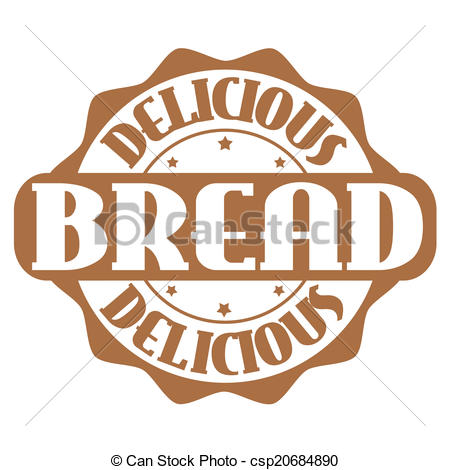 EPS Vectors of Delicious bread stamp or label on white, vector.