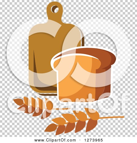 Clipart of a Loaf of Bread, Wheat and Cutting Board.