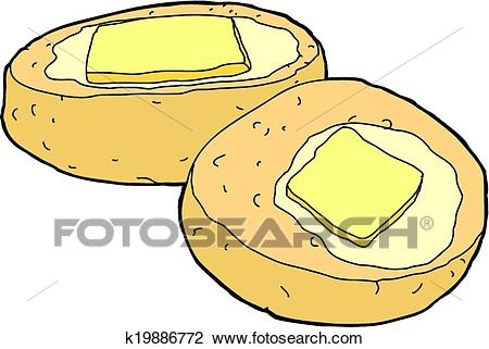 Corn Bread with Butter Clipart.