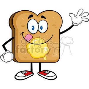 royalty free rf clipart illustration happy toast bread cartoon character  licking his lips with butter waving vector illustration isolated on white.
