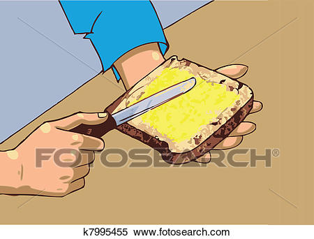Man applying butter on bread Clipart.