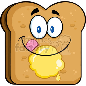 illustration happy toast bread slice cartoon character licking his lips  with butter vector illustration isolated on white background clipart..
