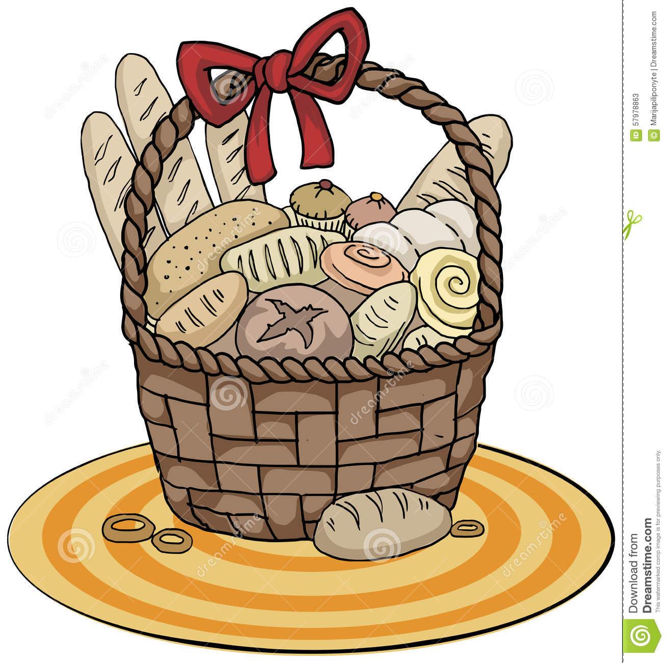 Bread Basket Stock Vector.