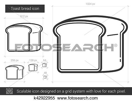 Clipart of Toast bread line icon. k42922955.