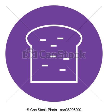 Vector Clipart of Single slice of bread line icon..