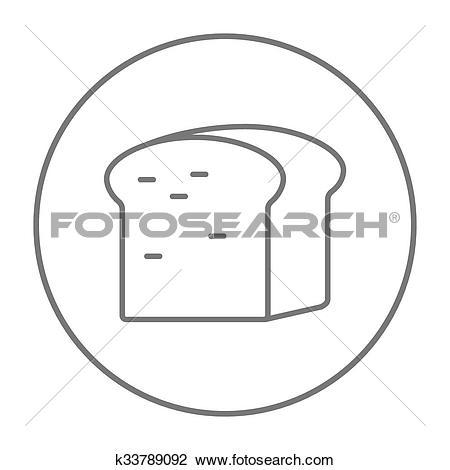 Clipart of Half of bread line icon. k33789092.