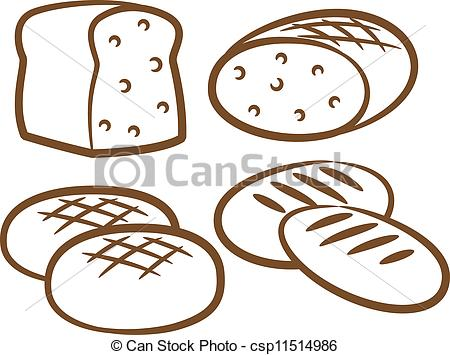 Vector of set of bread line art.