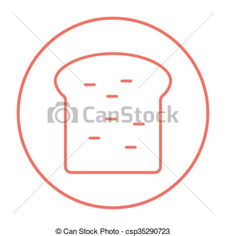 Vector Illustration of Single slice of bread line icon..