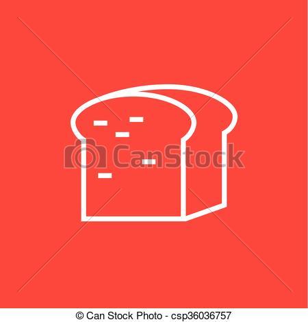 Clipart Vector of Half of bread line icon..