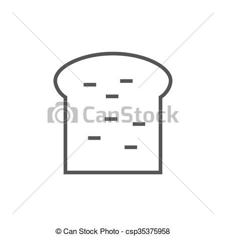 Clipart Vector of Single slice of bread line icon..