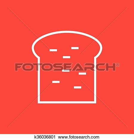 Clipart of Single slice of bread line icon. k36036801.