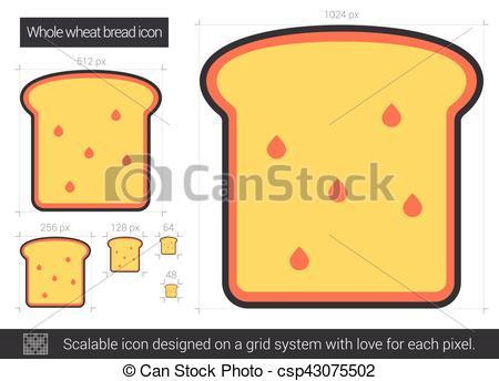 Vector Clipart of Whole wheat bread line icon..