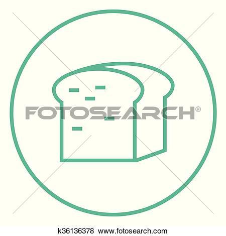 Clip Art of Half of bread line icon. k36136378.